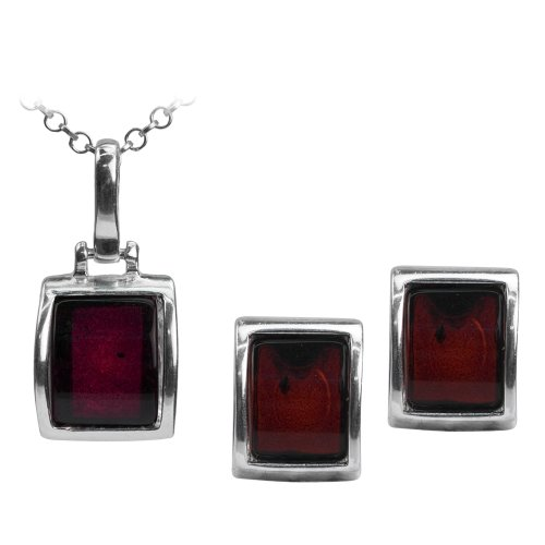 - Sterling Silver Red Dark Amber Rectangular Stud Earrings Necklace Set Chain 18 Inches