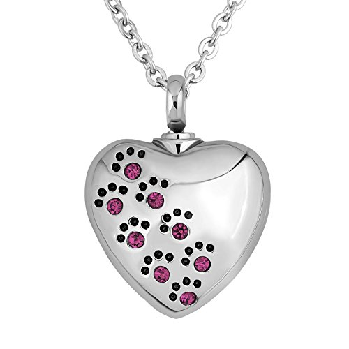 Third Time Charm Purple Pet Paw Print Heart Urn Necklace For Ashes After Cremation Pet Memorial Pendant