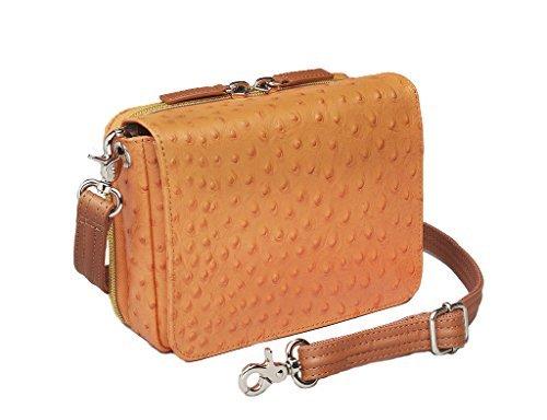 Concealed Carry Purse - Crossbody Organizer by Gun Tote'n Mamas (Orange Ostrich)