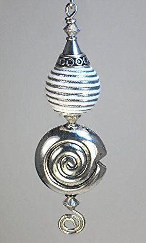 White with Silver Fabric Sphere and Silver Swirl Shell Ceiling Fan Pull/Light Pull Chain
