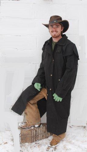 Australian Extra Large Dark Brown Oilskin Duster - Riding Coat