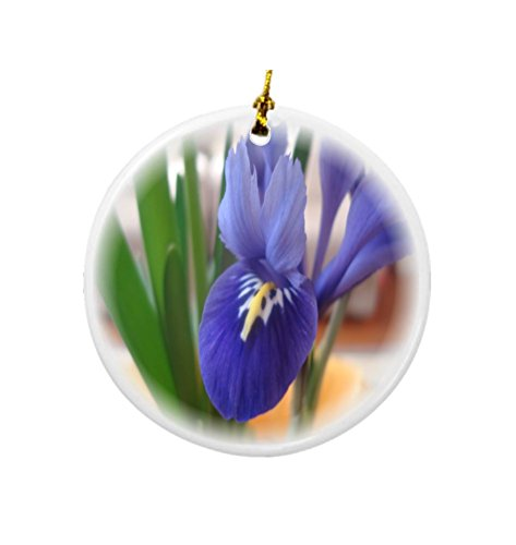 Rikki Knight Blue Iris Flower Design Round Porcelain Two-Sided Christmas Ornaments