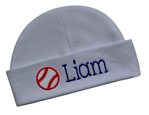 Funny Girl Designs Embroidered Baby Boy Hat Personalized Keepsake Custom Infant Hat With Baseball (White Hat)