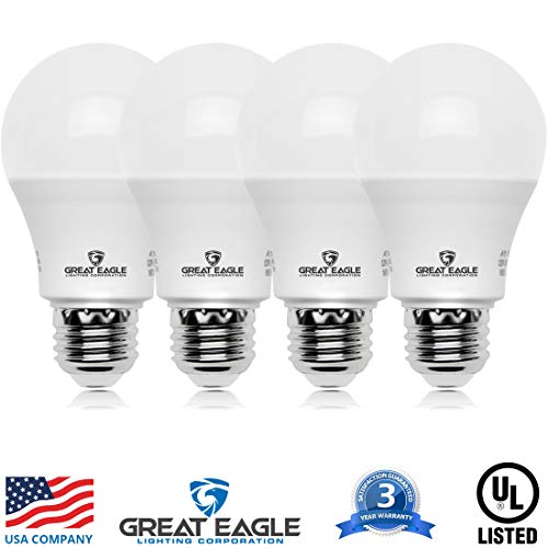 Great Eagle A19 LED Light Bulb, 12W (75W Equivalent), UL Listed, 3000K (Soft White), 1110 Lumens, Non-dimmable, Standard Replacement (4 Pack)