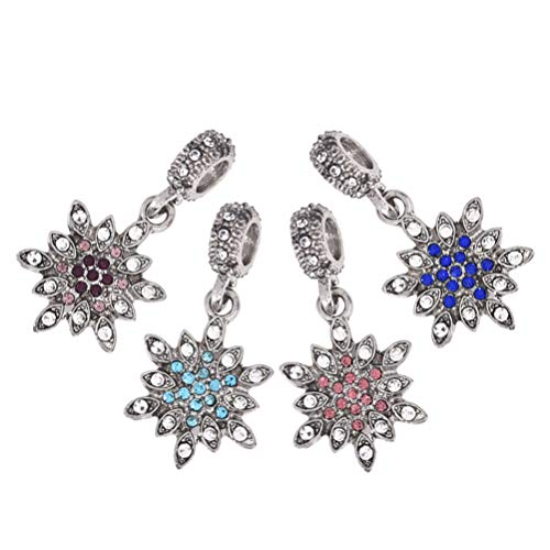 - Christmas Snowflake Charms Dangle Pendants with Crystals Rhinestone for Jewelry Making Xmas Decorations Supply 4pcs