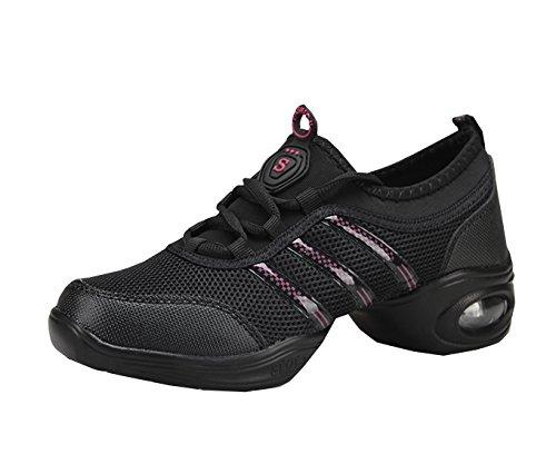 VECJUNIA Ladies Breathable Mid Heel Mesh Uppers Sneakers Lace-up Split Sole Dance Shoes Black Red