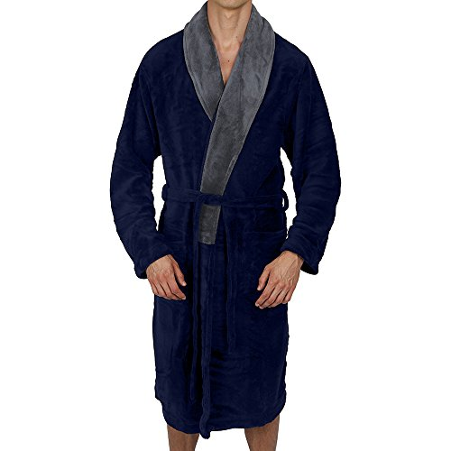 Regency New York Coral Fleece Robe (Large/X-Large, Navy Contrast Grey Collar) ()
