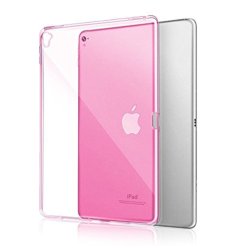 iPad Pro 9.7 Case,Veking Grip Flexible Soft Transparent TPU Rubber Back Cover for iPad Pro 9.7 Air Bounce Shockproof Technology-Hot Pink