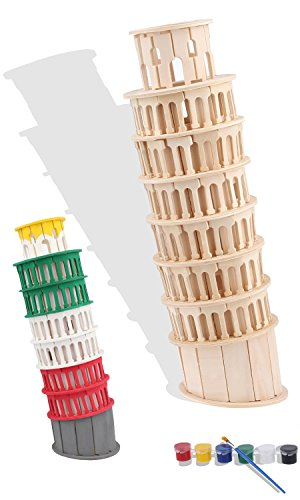 iPuzzle DIY 3D Wooden Puzzle Toys for Kids Includes Painting Tools - Tower of Pisa