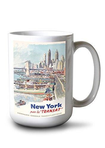 New York - Transat Vintage Poster (Artist: Brenet) France c. 1955 (15oz White Ceramic Mug)
