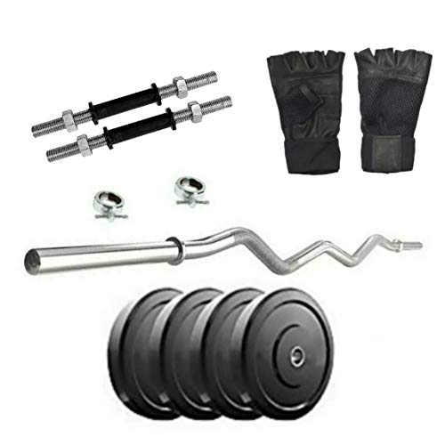 SX Fitness Home Gym Setup Combo Pack of 8 Kg Rubber Weight Plates (2 Kg X 4) with Solid Dumbbell Rod and 3 Feet Curl Rod with 2 Locks + Exercise Gloves Fitness & Exercise kit