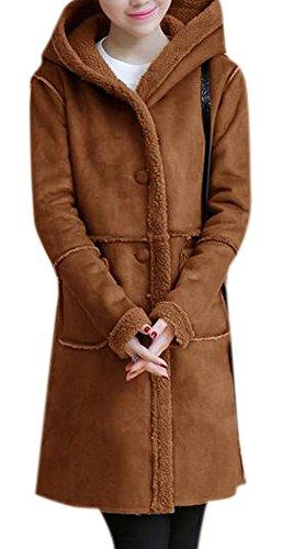 Enlishop Women Winter Thickened Hooded Fleece Suede Shearling Coat Jacket Grey (Suede Winter Coats For Women)
