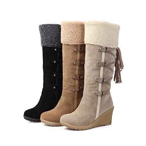 Compensées Daim Chaussures Hiver Large Femme Talon Long overdose Boots Soldes Beige Bottes Hautes Bottines v6fgyY7b