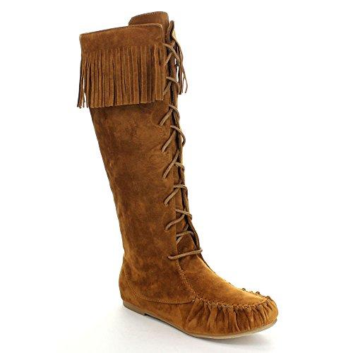 Bamboo Stiletto (Bamboo Circus-05 Women's Fringe Moccasin Under Knee High Combat Boots,Chestnut,6)