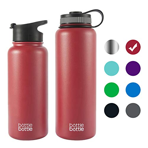 Bordeaux Outdoor Wall - bottlebottle 32 oz Insulated Stainless Steel Water Bottle with Bonus Lid, Double Wall Vacuum Sealed Flask, Wide Mouth, BPA Free, Cold 24 Hrs/Hot 12 Hrs - Bordeaux Red