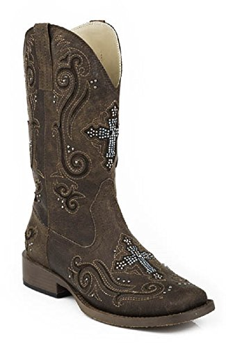Roper Women's Ladies Size 7 FAITH Turquoise Rhinestone Cross Inlay Vintage Brown Leather Cowboy Boots