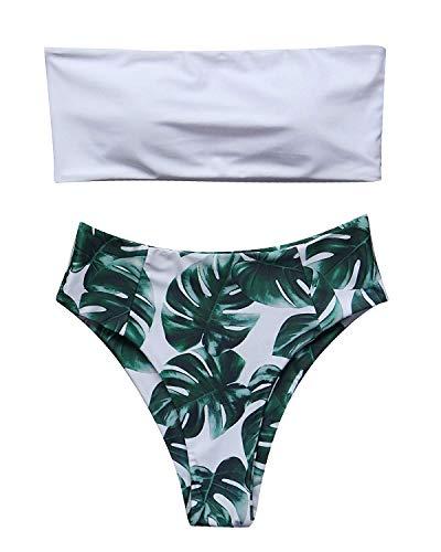 FITTOO Women Bandeau 2 Piece Set Bikini Set Crop Top Solid Color Strapless Plus Size Swimsuit High Waist l