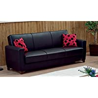 BEYAN Harlem Collection Modern Convertible Folding Sofa Bed with Storage Space Includes 2 Pillows, Black