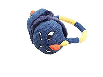 Cómodo orejeras Plegable Little Devil Child Knitted Plush Warm Orejeras Winter Outdoors Earwarmer (Cyan)
