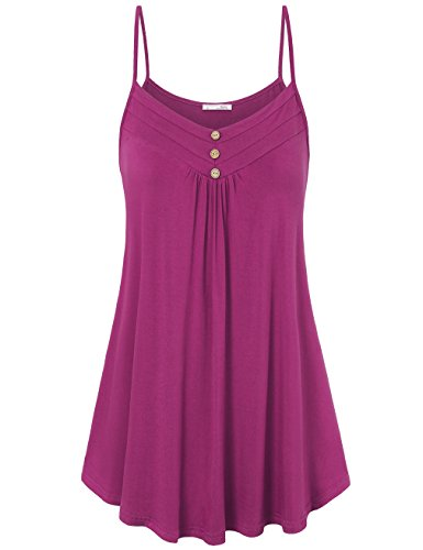 Messic Work Camisole for Women, Women's V Neck Casual Sleeveless Pleated Knit Cami Tank Tops(Magenta,XX-Large)
