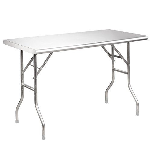 (Royal Gourmet Stainless Steel Folding Work Table, 48