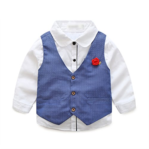 c96a489e020f Heheja Bebés Niños Camisetas de Manga Larga + Gentleman Chaleco + Elegante  Pantalones de Color Sólido
