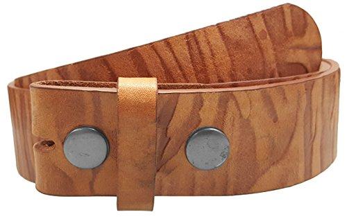 LUNA Western Embossed Tooled Leather Belt Strap - Wood - Brown - (Luna Brown Wood)