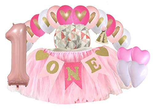Tinkerbell 1st Birthday (1st Birthday Baby Girl High Chair Tutu Skirt with Birthday Hat Banner and Balloons Party)