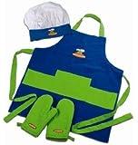 Curious Chef 4 Piece Child Chef Textile Set - Blue & Green