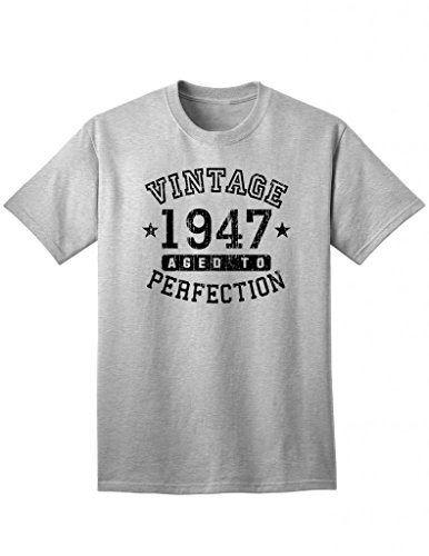 - TooLoud 1947 - Adult Unisex Vintage Birth Year Aged to Perfection Birthday T-Shirt - Ash Heather Gray - 3XL
