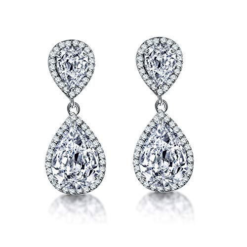 Teardrop Dangle Earrings for Wedding - AMYJANE Silver Cubic Zirconia Crystal cz Drop Earrings Womens Bridal Jewelry for Bride Bridesmaids Mother of ()
