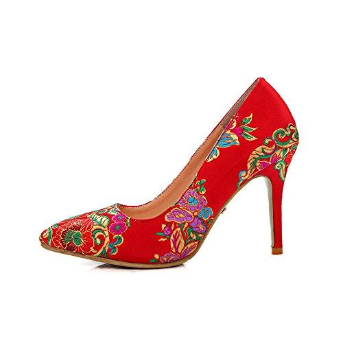 VogueZone009 Damen Seide Bestickt Ziehen auf Spitz Zehe Hoher Absatz Pumps Schuhe Rot