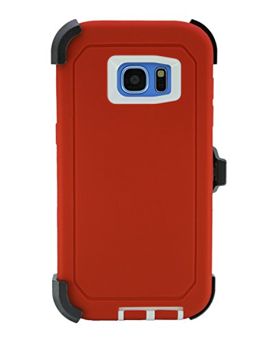 WallSkiN Turtle Series Cases for Samsung Galaxy S7 Edge (Only) Tough Protection with Kickstand & Holster - Garnet (Red/White)