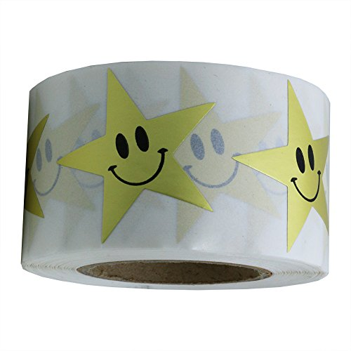 Hybsk Gold Star Smiley Face Stickers 1.5 Inch Total 500 Adhesive Labels Per Roll