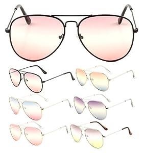Classic Pilot Aviator Sunglasses w/ Triple Gradient Lenses