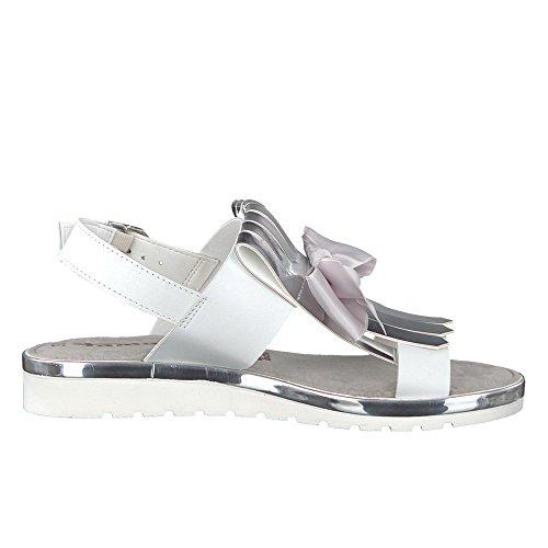 Tamaris 28707-38-070 Damen Sandale Mix Touch-it-Innensohle Modische Laufsohle Weiß/Silber