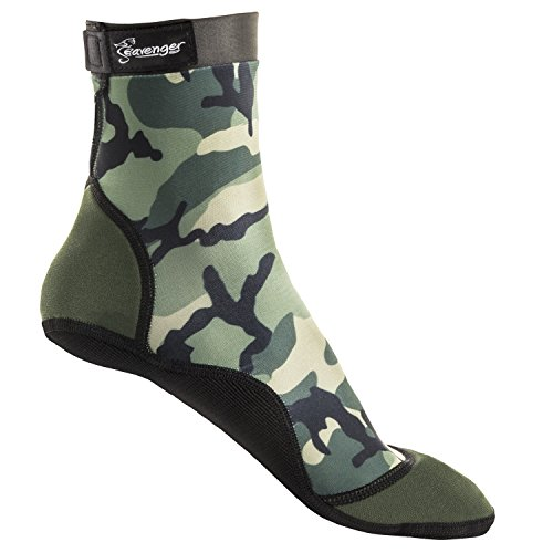 Seavenger High Cut Beach Socks with Grip Sole for Sand, Volleyball, Snorkeling, Diving, Wading (Camo, X-Large) (Sand Camo)
