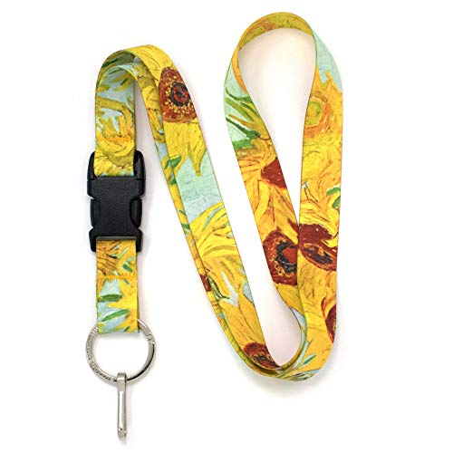 Buttonsmith Van Gogh Sunflowers Premium Lanyard - with Buckle and Flat Ring - Made in The USA
