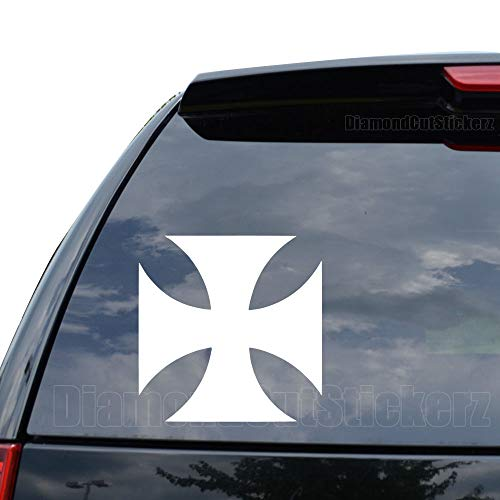 DiamondCutStickerz Maltese Iron Cross Knight Templar Decal Sticker Car Truck Motorcycle Window Ipad Laptop Wall Decor - Size (05 inch / 13 cm Tall) - Color (Matte White)