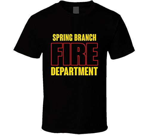 Spring Branch Fire Department Personalized City T Shirt S Black (City Branch T-shirt)