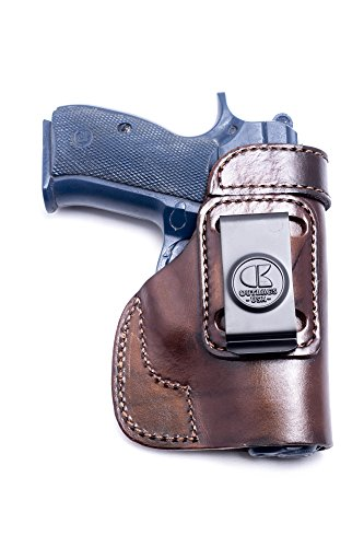 OutBags USA LS2CZ75C (BROWN-RIGHT) Full Grain Heavy Leather IWB Conceal Carry Gun Holster for CZ-USA CS75 Compact 9mm. Handcrafted in USA. (Best Iwb Holster For Cz 75 Compact)