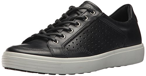 Ecco Hombres Soft 7 Fashion Sneaker Black Retro Perforated