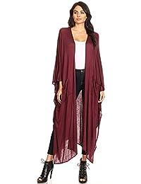 Anna-Kaci Womens Oversized Open Front Draped Pockets Long Maxi Robe Cardigan