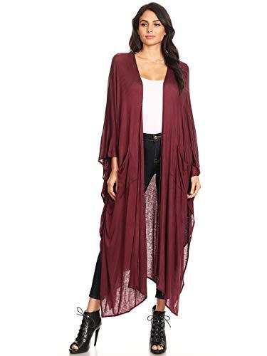 Anna-Kaci Womens Oversized Open Front Draped Pockets Long Maxi Robe Cardigan, Burgundy, Medium/Large