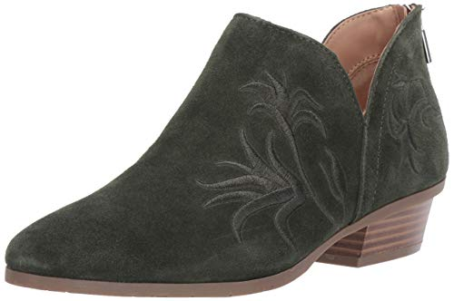 Kenneth Cole REACTION Women's Side Gig Tonal Embroidered Ankle Bootie Boot, Olive, 7.5 M US