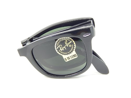 New Ray Ban Folding Wayfarer RB4105 601 Glosssy Black/B-15 XLT 50mm Sunglasses