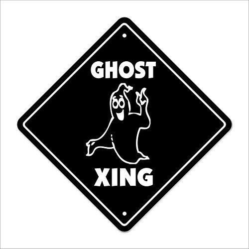 (Hiadsdahdgs Ghost Crossing Sign Zone Xing Halloween Casper Scary Fantasy Deceased Fictio Funny Metal Signs for Home Decor Aluminum Tin Sign)