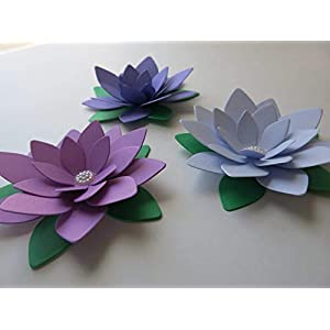 "Pretty Purple Ombre Lotus Flowers, Set of 3, 4"" Water Lily Floral Centerpiece 116"
