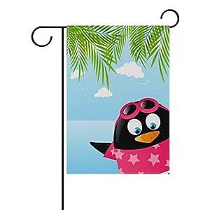 Doble cara, diseño de pingüino de vacaciones de verano poliéster casa jardín bandera Banner 12x 18/28x 40pulgadas para todo tipo de clima para boda fiesta