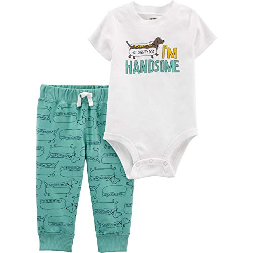 Carter's Baby Boys' 2-Piece Bodysuit Pant Sets (Ivory/Turquoise/Hot Dog, 24 Months)
